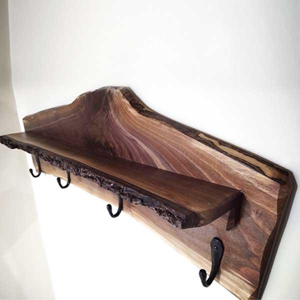 Walnut Coat Rack with Shelf