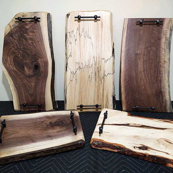 Live edge serving boards
